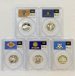 PCGS PR69 DCAM 1999-S Silver Quarter Set of 5 Coins.! GEM Proof.! NR.!!