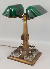Rare Antique Emeralite Double Partners Bank Desk Lamp Green Shades & 4 Inkwells