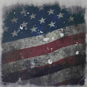 """Kydex Infused Old Glory Subdued on White 7 7//8/"""" X 7 7//8/"""" W//Blk Sheet Kydex"""