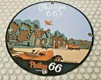 VINTAGE PHILLIPS 66 GASOLINE PORCELAIN GAS MOTOR OIL SERVICE STATION PUMP SIGN