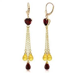Garnet & Citrine Earrings In 14K Yellow Gold (9.50 ct. tw