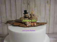 "Burlap Natural Hessian Rustic Bride & Groom ""Love Birds""  Wedding Cake Topper"