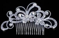 Faux Perle Cristal Strass Papillon Cheveux Clip Peigne Mariée Demoiselle d'honneur Slide v5