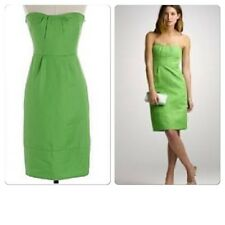 J Crew Bright Green L 12 P Strapless Cocktail Party Dress Cotton Erica