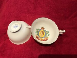2 Windsor Bone China Tea Cup Saucer Coronation Queen Elizabeth 11 1953 Numbered