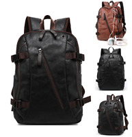 Mens Leather Travel School Large Shoulders Bag Laptop Backpack Computer Notebook