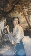 """GEORGE BAXTER ANTIQUE 1856c HAND COLORED ETCHING """"LOVER'S LETTER BOX"""",FRAMED"""