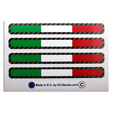 4X Italian flags Carbon fiber outline Laminated Decals Stickers for moto guzzi