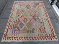 Kilim Old Traditional Hand Made Afghan Oriental Kilim Red Purple Wool 203x153cm