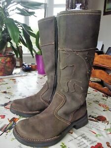 RICOSTA,LOVELY,DARK BROWN SUEDE,WATER RESISTANT,ZIPPED MID CALF BOOTS -UK SIZE 3