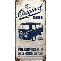 Letrero de Metal VW Furgoneta T1 Orig. Ride, Nostalgia Signo 50CM Nuevo, Escudo