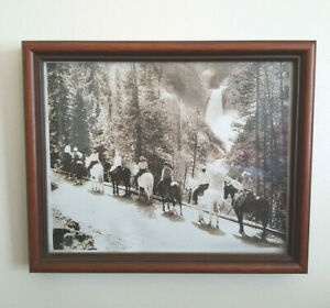 Antique 1920 Framed Photo Yellowstone Falls Trail Ride East Side View of River