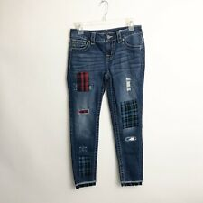 Miss Me Womens Jeans Size 26 Patchwork Mid Rise Ankle Skinny Raw Hem Plaid