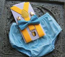 1st Birthday boy cake smash diaper cover bow tie boy clothes light blue yellow