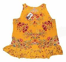 NWT Womens BILA Gold Lightweight Floral Sleeveless Tank Top Shirt Blouse Large