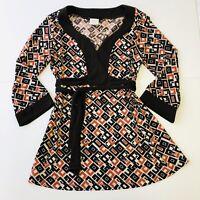 TM Style Vintage Womens Tunic Top Size M Brown Orange Geometric Wrap Style Belt