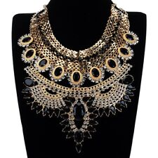 Fashion Women Crystal Resin Choker Chunky Statement Necklace Gold Chain Jewelry
