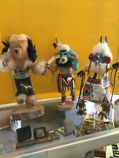 Lot Of 3 Cool Looking Kachina Doll Signed One Missing Bottom