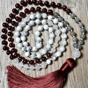 Natural Howlite 108 Beads Handmade Tassel Necklace Buddhism Meditation Chakra