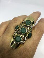 Vintage Tribal Genuine Faceted Emerald Stone Adjustable Brass Ring