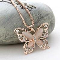Rose Gold Schmetterling Anhänger Halskette Pullover Kette Valentinsta für F D1S6