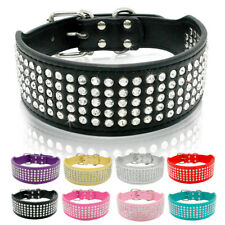 Rhinestone Leather Pet Dog Collars 2 Inch Wide Crystal Studded Dogs Pet Collars