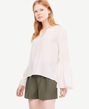 NWT Ann Taylor Tiered Bell Long Sleeve Blouse Top Size XS Winter White $80