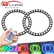 2 X 90mm RGB Color Change Remote Control LED Angel Eyes Halo Ring Light  Bulb
