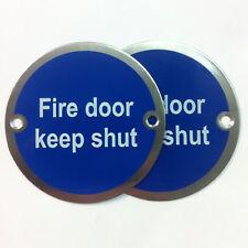 """76mm Segnale """"Fire Door Keep Shut"""", sss, COPPIA"""