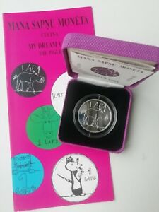 "RARE! PIGLET LAC1 ""my dream coin"" SILVER 1 lats 2009 BOX COA BOOKLET Latvia 5000"