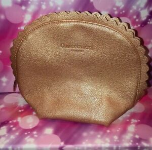 Omorovicza Metallic Tan Beauty or Makeup Bag, Scalloped Edges, New