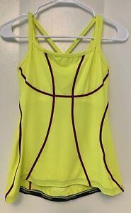 Nishiki Women's S CYCLING Biking JERSEY Small Sleeveless Neon Yellow X straps