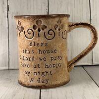 Cracker Barrel Bless This House O Lord Coffee Mug Cup Tea Ceramic Brown Prayer