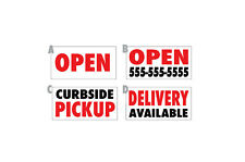 Restaurant Business Sign Banner Open Delivery Pickup Available curbside lockdown