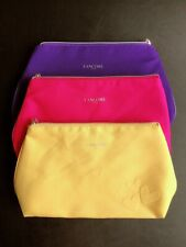"3 PC LANCOME Cosmetic makeup bag Purple/Fuchisa/Yellow 11"" x 7'"