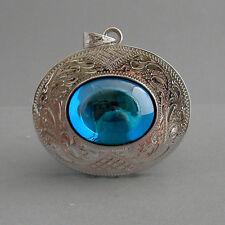 Blue Oval NAGA EYE Thai Talisman Cave Crystal Handmade Silver Amulet Pendant