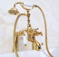 Deck Mounted Bathtub Faucet Clawfoot Tub Filler Mixer Tap Set Hand Shower Ptf504