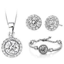 Bridal Luxury Jewellery Set White Diamante Stud Earrings Necklace, Bracelet S650