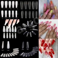 120/500/600Pc Long Ballerina Full Cover Artificial False Nail Tips Clear/Natural