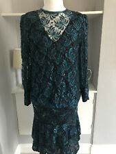 Black & Blue Lace Sparkle Sequin Drop Waist Flapper Dress Size M 12