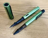 LAMY AL STAR SILVER GREEN FOUNTAIN PEN & BALL PEN PAIR BLACK CLIP (VERY RARE)