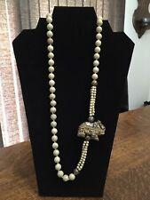 "Head Bead Amulet Endless 32"" Necklace Vintage Stone Bead & Large Agate Elephant"