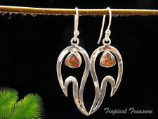 Synthetic Fire Opal & 925 SOLID Silver Earrings    #48570