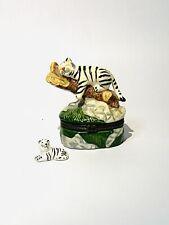 Vintage White Tiger Trinket Box With Hidden Treasure Mini White Tiger