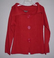 Western Connection Red Cardigan Sweater ~Collar, Long Sleeve Women's Large  NWT!