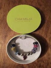 Authentic Chamilia 7.5 Sterling Silver Bracelet With 14 Chamilia Beads With Box