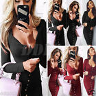Fashion Women Button V Neck Long Sleeve BodyCon Casual Cocktail Party Dress