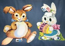 Vtg Easter Die Cuts/Cutouts Brown Bunny Rabbit White Bunny Rabbit Easter Egg