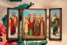 ORTHODOX Triptych ICON Sts Myrrh-Bearers Sts Arсhangels Michael Gabriel Мироноси