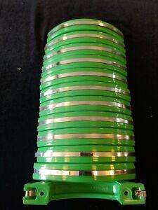 Set Of 12 Vintage 1950's Drawer Pulls Green & Chrome. Frank Hacking Toronto- NIB